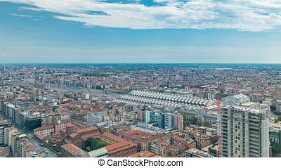 Milan aerial view of residential buildings and the central railway station in the business district timelapse