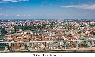 Milan aerial view of residential buildings and the Garibaldi railway station in the business district timelapse