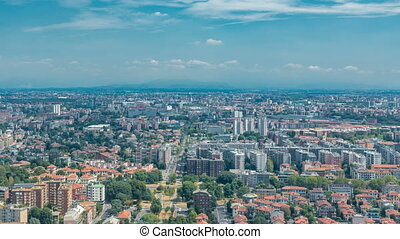 Milan aerial view of residential buildings near the business...