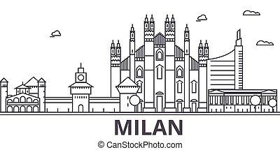 Milan architecture line skyline illustration. Linear vector...