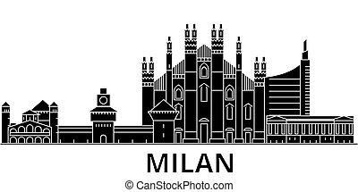 Milan architecture vector city skyline, travel cityscape...