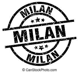 Milan black round grunge stamp