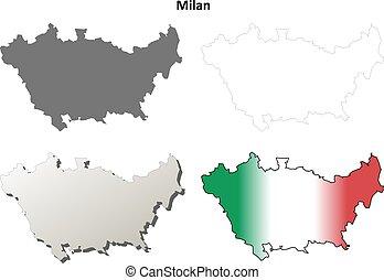 Milan blank detailed outline map set - Milan province blank...
