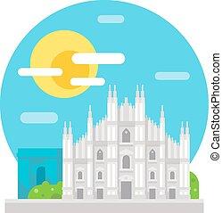 Milan cathedral flat design landmark illustration vector