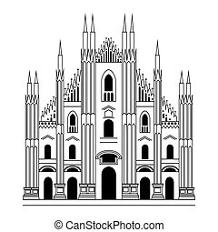 Milan Cathedral. Gothic architecture. Vector hand drawn illustration