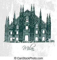 Milan Cathedral. Gothic architecture. Vector