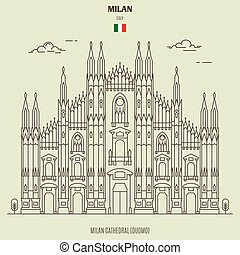 Milan Cathedral (Duomo), Italy. Landmark icon in linear style