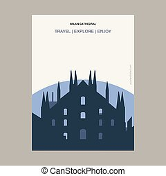 Milan Cathedral, Italy. Vintage Style Landmark Poster Template