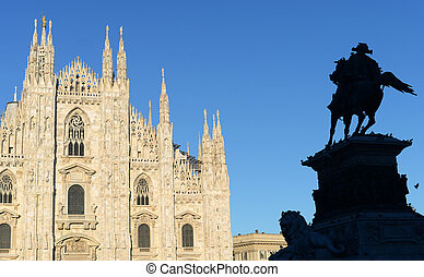 Milan cathedral with statue of king Victor Emanuel on his horse