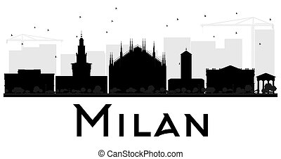 Milan City skyline black and white silhouette. Vector...