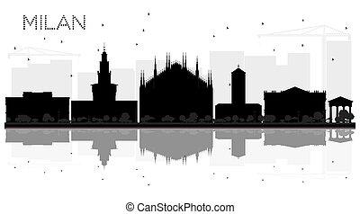 Milan City skyline black and white silhouette with...