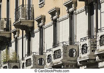 milan, (italy):, bâtiments, dans, via, francesca della piero