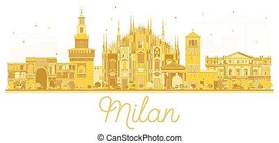 Milan Italy City skyline golden silhouette. Vector...