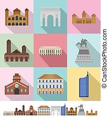 Milan Italy city skyline icons set, flat style