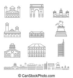 Milan Italy city skyline icons set, outline style