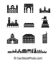 Milan Italy city skyline icons set, simple style