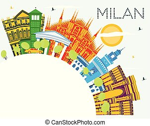 Milan Italy City Skyline with Color Buildings, Blue Sky and...