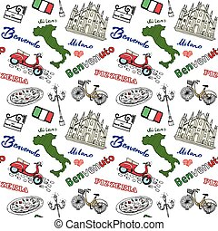 Milan Italy seamless pattern