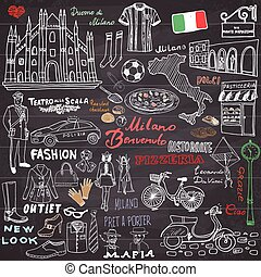 Milan Italy sketch elements. Hand drawn set with Duomo cathedral, flag, map, shoe, fashion items, pizza, shopping street, transport and traditional food. Drawing doodle collection, on chalkboard.