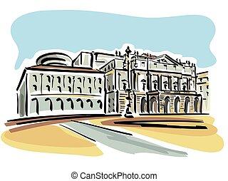 Milan (La Scala Opera House) - Illustration of the La Scala...
