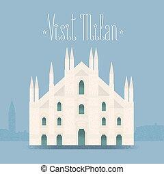 Milan, Milano cathedral vector illustration, design element,...