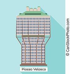 Milan piazza velasca icon. Flat illustration of Milan piazza velasca vector icon for web design