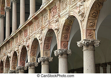 Milan, Italy. Famous courtyard of the University.