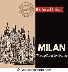 Milan, retro touristic poster - Vintage touristic poster...