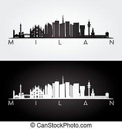 Milan skyline and landmarks silhouette, black and white...
