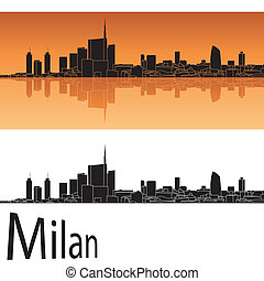 Milan skyline in orange background in editable vector file