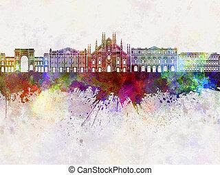 Milan skyline in watercolor