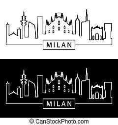 Milan skyline. Linear style.
