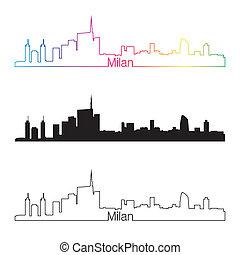 Milan skyline linear style with rainbow in editable vector...
