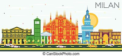 Milan Skyline with Color Landmarks and Blue Sky. Vector...