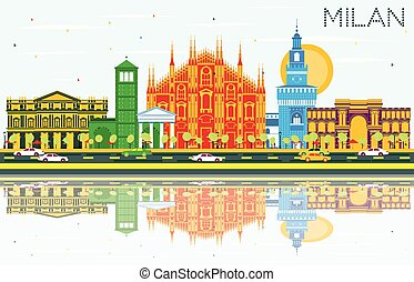 Milan Skyline with Gray Landmarks, Blue Sky and Reflections....