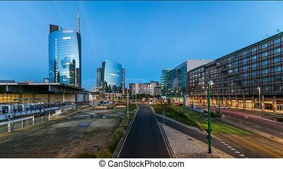 Milan skyline with modern skyscrapers in Porta Nuova...