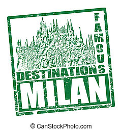 Milan stamp - Grunge rubber stamp with the text travel...