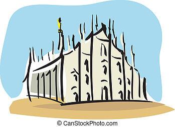 Milan (the Duomo of Milan) - Illustration of the Duomo of...