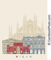 Milan V2 skyline poster in editable vector file