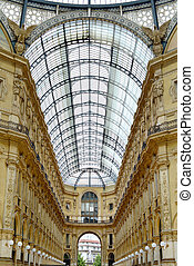 Milan, Vittorio Emanuele II Gallery, architecture connecting Duomo Place with historical Scala Theater. Also known as Milano Drawing Room. Italy, Europe.
