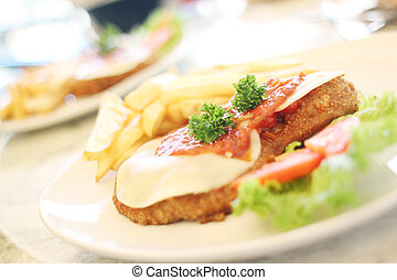 Milanesa Napolitana with french fries.