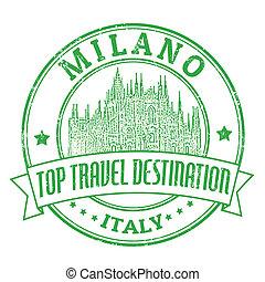 Milano, Italy stamp - Top travel destination grunge rubber...