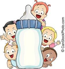 milch, kinder, brett, abbildung, flasche, kleinkinder