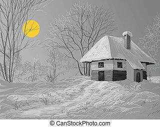 milczący, zima, noc