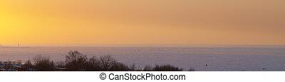 mild winter sunset