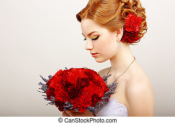 Mildness. Profile of Calm Woman with Red Bouquet of Flowers. Tranquility & Gentleness