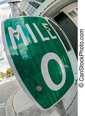 Mile 0 Road Sign