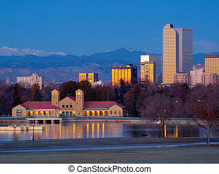 A view of downtown Denver before sunrise.