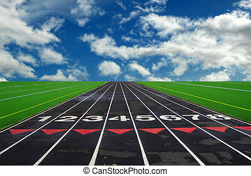 Mile Run Track - Numbered lanes on a mile running fitness...