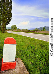milestone at the side of the road